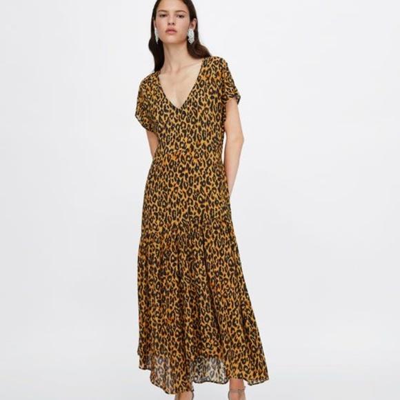 5af5a8c6 Zara Dresses | Vneck Animal Print Leopard Dress Small Nwt | Poshmark